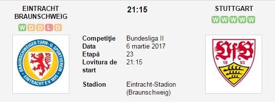 Pronosticuri Eintracht Braunschweig vs VfB Stuttgart