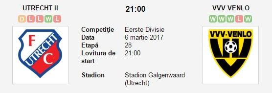 Pronosticuri fotbal Utrecht II vs Venlo
