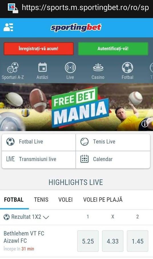 sportingbet site mobil