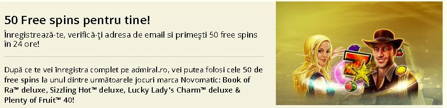 50 rotiri gratuite admiral casino