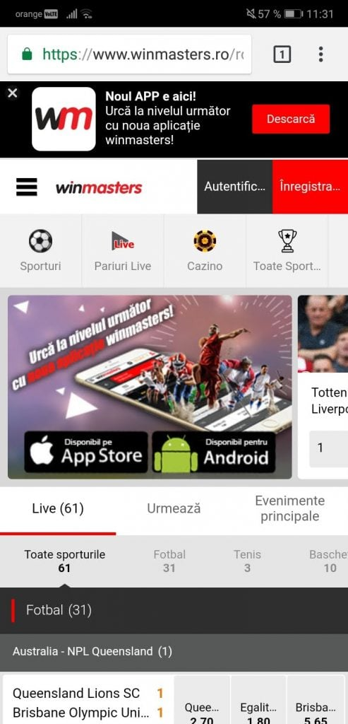 Winmasters website mobile