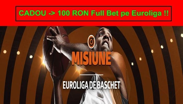 Incepe Euroliga la Betano primesti cadou 100 RON Full Bet