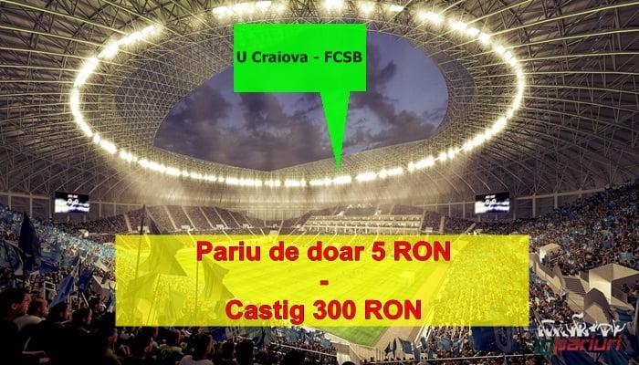 Mizezi pe U Craiova vs FCSB. Vezi aici un pariu de cota 60.0 .0