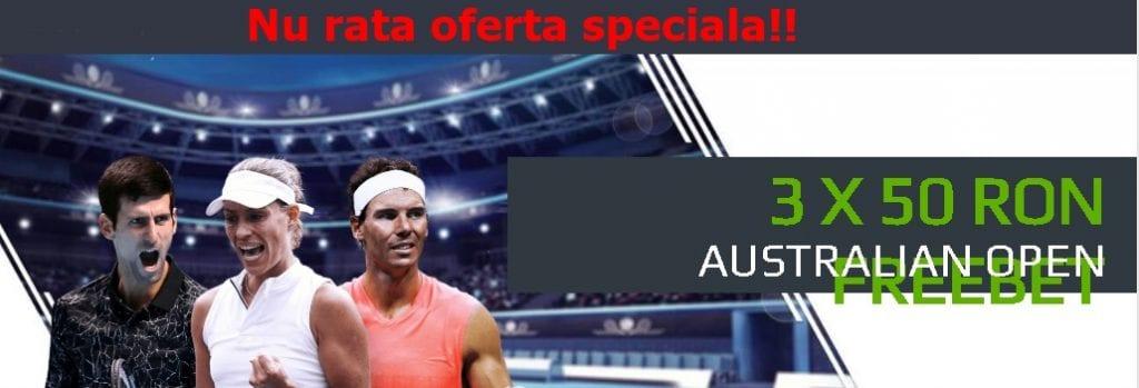 Aici obtii 3 freebet uri a cate 50 RON pe Australian Open