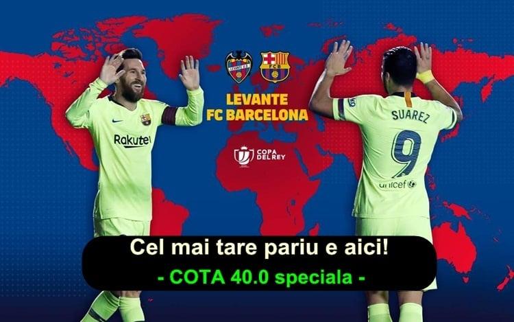 Vezi pariul ideal la Levante – Barcelona in Cupa Spaniei ai cota 40.0