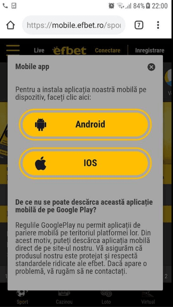 Efbet apk descărcare Android