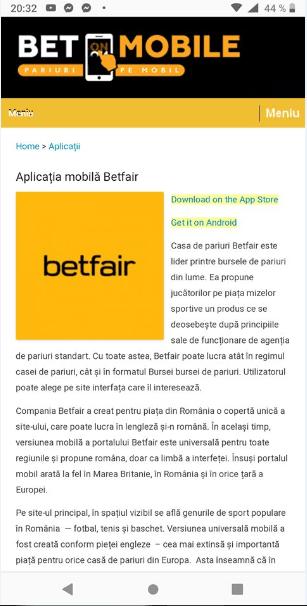Betfair aplicația mobilă