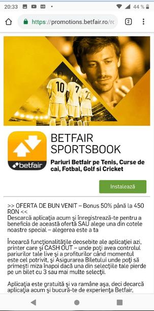 Betfair Sportsbook app
