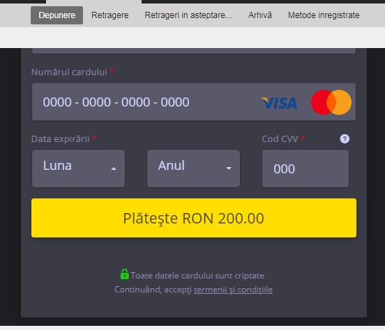 Efbet depunere bani - card bancar