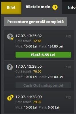 Fortuna Cash Out exemplu