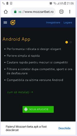 mozzartbet descărcare app android