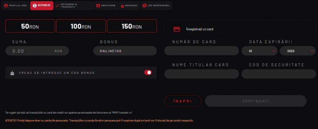 maxbet casino depunere cu cardul