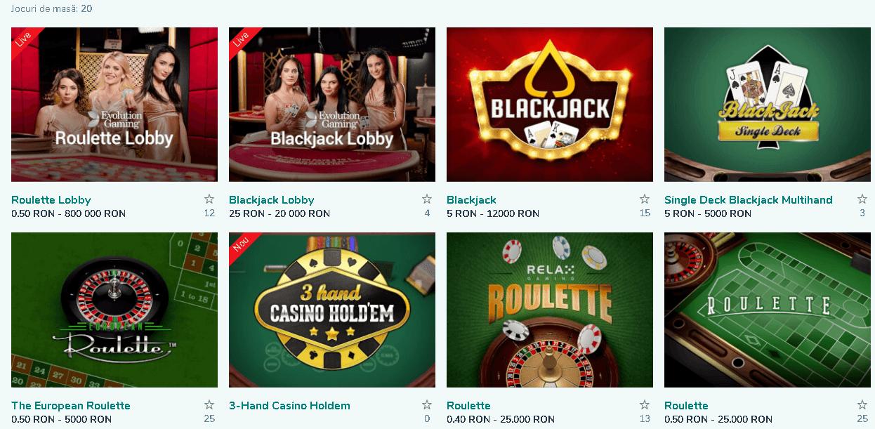 Vlad Cazino jocuri de masă
