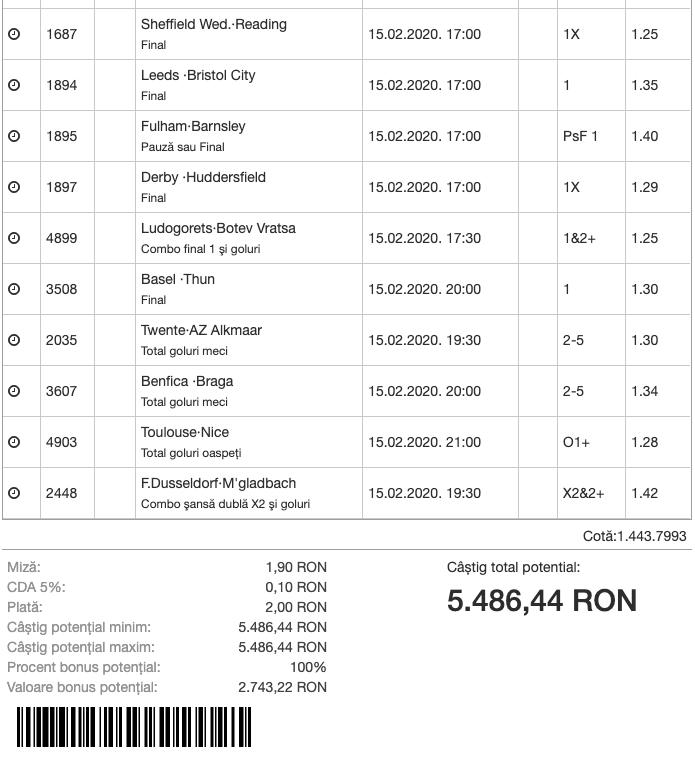 Bilet Bonus Dublu Superbet - 15.02.2020