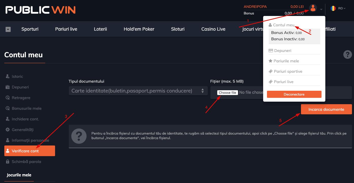 verificare cont pariuri