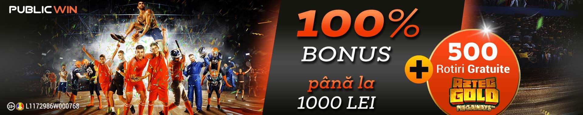 bonus publicwin 1000 lei + 500 free spins