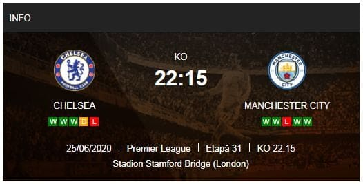 statistici chelsea - manchester city