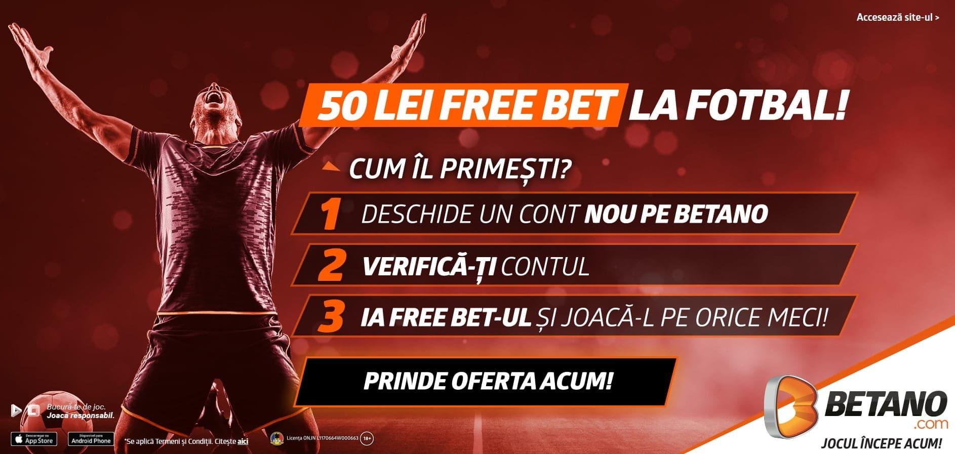 betano freebet 50 ron