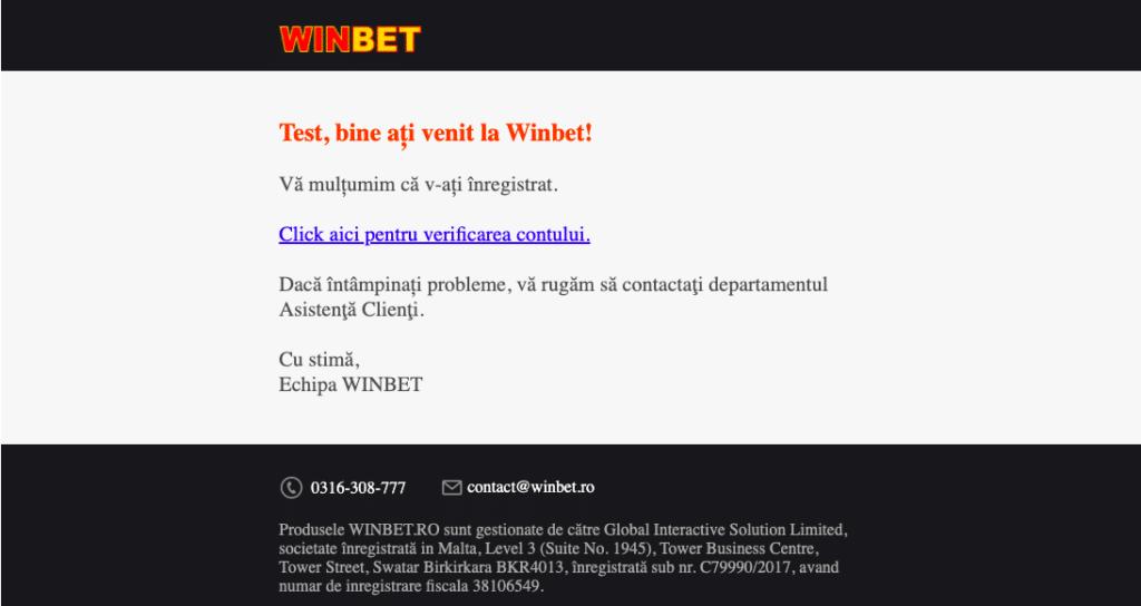 Email Activare Cont Winbet